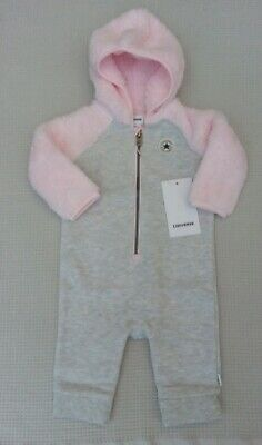 BNWT Converse All Stars Baby Girls Pink Grey Babygrow All In One Pramsuit 6-9mth