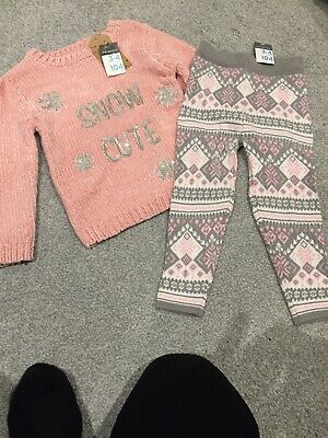Girls 3/4 Years Winter Outfit. Jumper And Wooly Leggings. BNWT