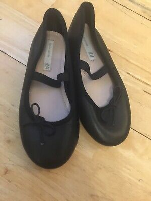 Girls Black Leather Shoes Ballet Pump Style Size 28 Euro Approx 9/10 Uk