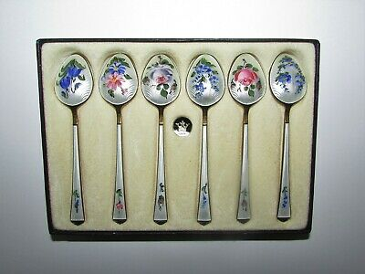 Set of 6 Beautiful Sterling Silver Guilloche Enamel Floral Demitasse Spoons 616