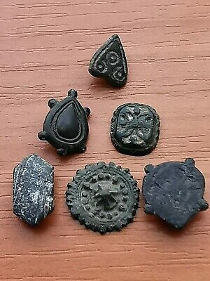Lot of 6 Ancient Roman Bronze Belt Mounts Circa 200-300 AD Very Rare