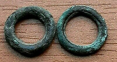 "Lot of 2 Ancient Celtic Proto Money Bronze Rings ""Coins"" Circa 400 BC Very Rare"
