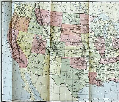 1904 United States Map Texas Colorado Montana Florida great Lakes ORIGINAL