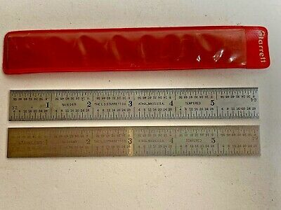2 - Starrett  6 Inch Flexible Metal Machinist Rulers With Case
