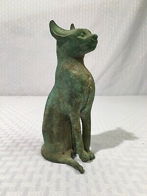 Ancient Egyptian Bronze Cat Sculpture Late Period (664-332 B.C.E.) Antiquities