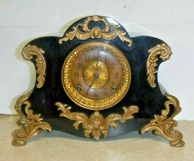 Antique Fancy Ansonia Amiens Ornate Enameled Mantel Chime Clock Working Iron