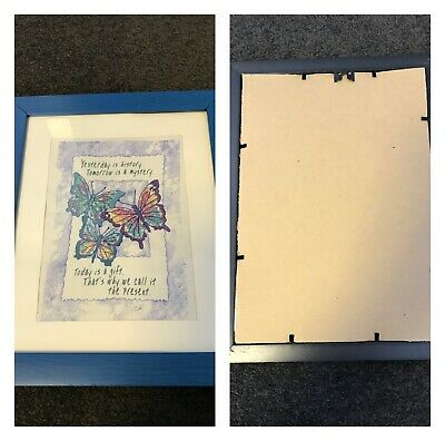 """Handmade and Framed Completed Cross Stitch """"Butterflies"""""""