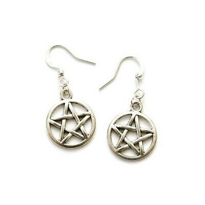 Silver Tone Pentagram Hook Earrings Drop Dangle - Pagan Wiccan
