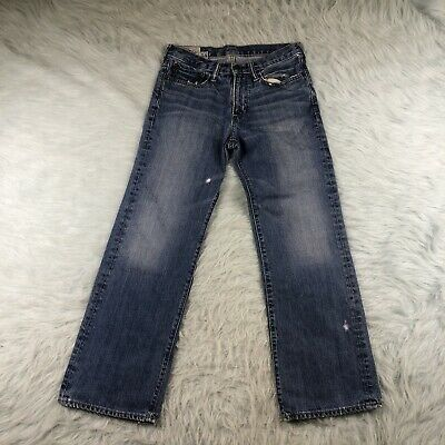 Boy's Abercrombie Kids Kilburn Low Rise Boot Jeans Size 14 Blue Denim A&F
