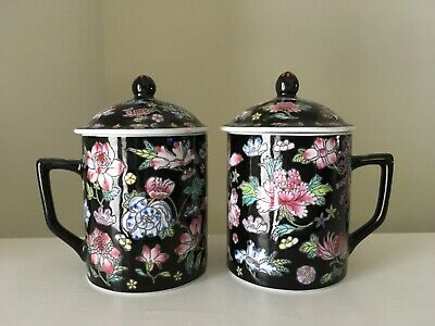 Chinese Porcelain Floral Lidded Teacups Pair