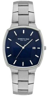 Kenneth Cole NY KC50892001 Mens Silver Tone Blue Dial Date Watch NWT