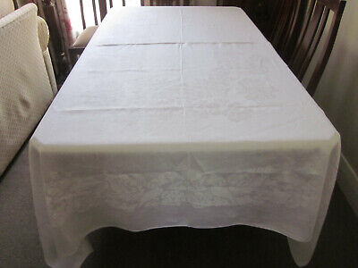 Gorgeous Vintage White Irish Linen Damask Tablecloth - Huge Roses And Ribbons