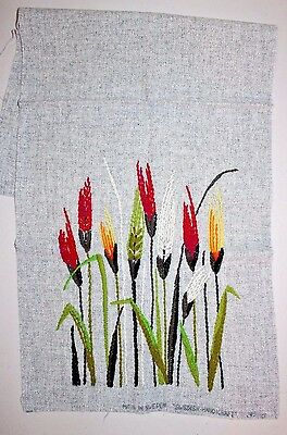 Floral Garden Swedish Handicraft New York Crewel Embroidery Completed Finished