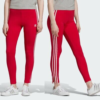 Adidas Original Womens Shiny 3 Stripe Leggings Dark Pink/Red Size XL NWT