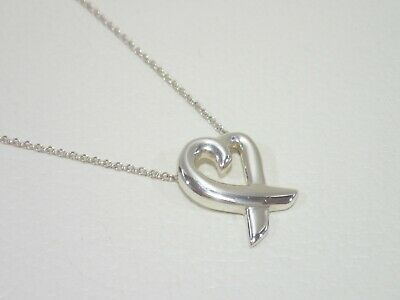 """TIFFANY & CO. Paloma Picasso sterling silver Loving Heart pendant necklace 16"""""""