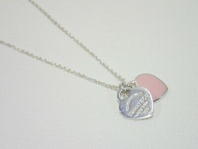 TIFFANY & CO. sterling silver Double Heart with pink enamel pendant necklace