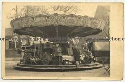 Showman Family In Front Of Carousel / Funfair - Ride (Vintage RPPC Belgium ~1920