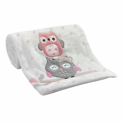 Lambs /& Ivy Aqua Blue//White Luxury Fleece Baby Blanket with Appliqued Gray Fox