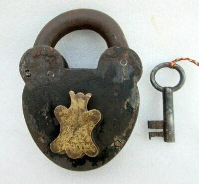 Antique Joseph Waine & Co. Wood St. Willenhall Padlock Made in ENGLAND Lock