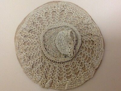 Vintage Crocheted  miniature cup & saucer on doily still tacked to original card