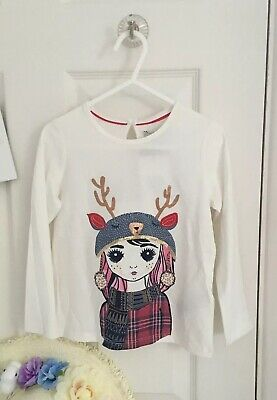 BNWT New Girls MARKS & SPENCER Long Sleeve Christmas Top Ivory T-Shirt 3-4 Years