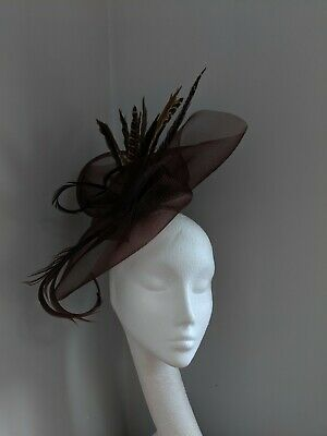 Brown Crinoline Fascinator With Pheasant Feathers, Races Weddings