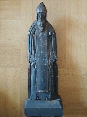 ANTIQUE 19c HAND CARVED RUSSIAN ICON OF ST.NEEL