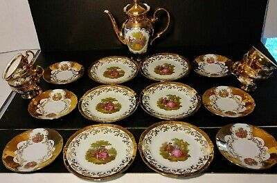 Klieber COFFEE / TEA SET 22K Gold-Plated Hand Painted 20 pcs - W.Germany