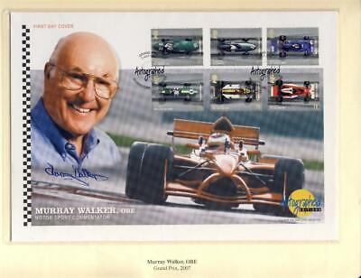 2007 Grand Prix Stamps Set-Lovely Display Cover Signed By Murray Walker Obe