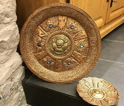 Antique Tibetan Copper & Brass Wall Charger Tray Temple Lion Turquoise Buddhism