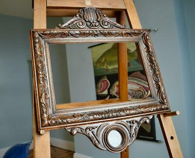"SUPERB ANTIQUE CARVED OAK PICTURE FRAME 18"" X 12"" REBATE v ARTS & CRAFTS NOUVEAU"