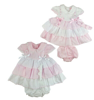 2020 Baby Girls Spanish Style Romany Set Pink /& White Swan Dress /& Pants Outfit