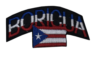 BORICUA Flag PUERTO RICO Embroidered Patch Hot melt Pre glued Iron on PATCH Lot