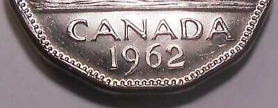 1962 DOUBLE DATE Five Cents MS BU ** Beautiful SCARCE Variety QEII Canada Nickel