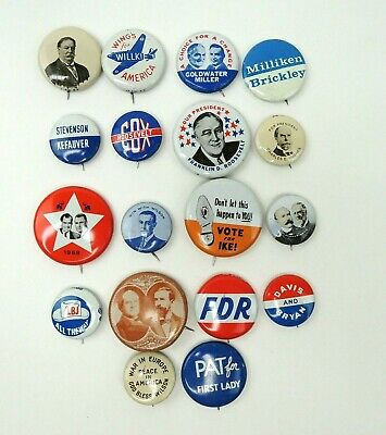 President Lot x18 Campaign Pin 1972 Set VTG  Nixon, LBJ, FDR, Bryan, Willkie