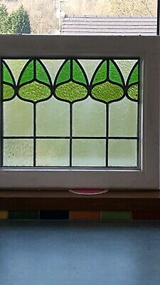 Vintage Leaded Stained Glass Single Panel Antique Stained Glass