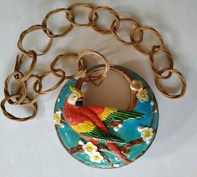 Vintage Bird Parrot Flowers Hanging Planter Vase Rattan Chain Marked Art Deco