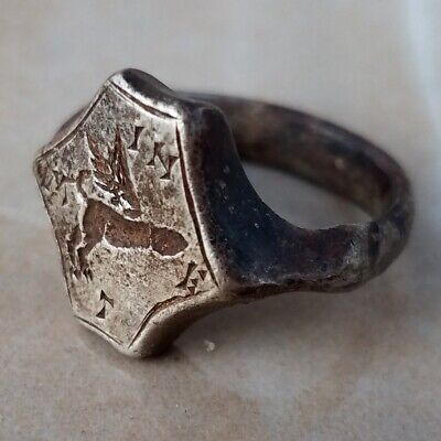 ANCIENT Roman Silver Ring engraved Phallus and inscription M IN E T 19mm