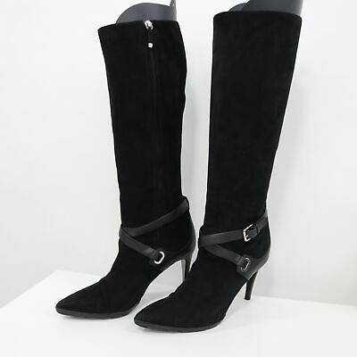 Ralph Lauren Collection Tall Boots 8.5B Black Suede Leather Knee High Heel