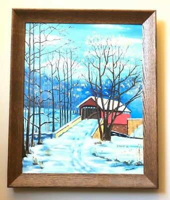 Vtg Painting Folk Art Prim Covered Bridge in Winter Irene Hartmann Artist Sears