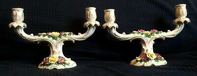 Pair of Antique Floral Candlesticks Crown LR Mark Dresden Art Germany [AH244]