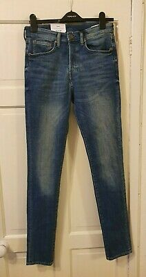 New &DENIM Brand By H&M Men's Skinny Stretchy Blue Jeans in size 32. Button Fly