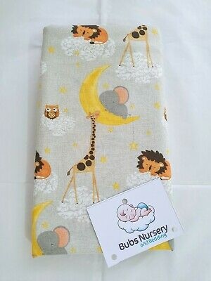 New Fitted Cotton cot sheet unisex - Lions, Elephants & Giraffes - 132 x 70 cm
