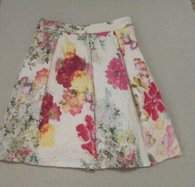 NEXT Girls Ivory Pink Floral Textured Skirt Occasion Party Wedding 5-6 years