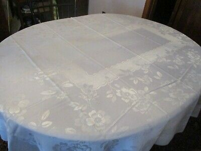 """Vintage White/Ivory linen damask tablecloth with Cherry blossoms. 66 x 84"""""""