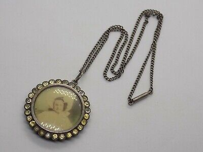 Antique Sterling Silver Mourning Locket Pendant On Silver Chain. Georgian???