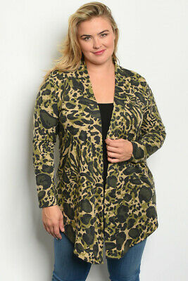 Womens Plus Size Cammo Camouflage Cardigan 1XL Open Front Long Sleeve