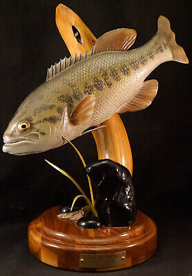 Wooden Fish Sculpture Large Mouth Bass by Ray Dodge Very Realistic on Stand