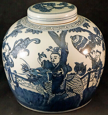 Chinese Large Lidded Porcelain Jar with Scenic Design 3 Man 1 on Mythical Beast