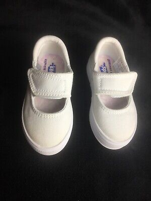 Keds Toddler Girls Size 5.0 Mary Jane Shoes White Canvas Hook & Loop Strap NEW